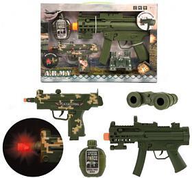 Sada pistole 2ks + doplňky plast na baterie se zvukem se světlem v krabici 41x27,5x5cm - Teddies