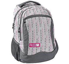 Školní taška /batoh PASO 3 kapsy, šedá - OEM