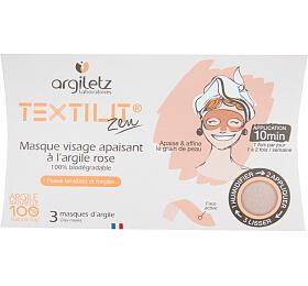Maska pleťová zklidňující textilní s růžovým jílem 3 ks ARGILETZ - Argiletz