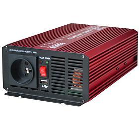Měnič napětí CARSPA P600 12V/230V 600W čistá sinusovka USB - CARSPA