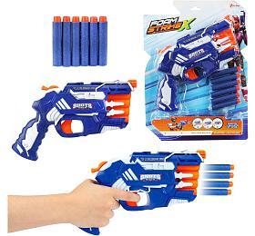 Pistole na pěnové náboje Teddies 25cm plast + náboje 6ks na kartě - Teddies
