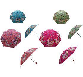 Deštník Jednorožec 66cm vystřelovací mix barev v sáčku - Teddies