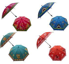 Deštník 66cm vystřelovací s píšťalkou mix barev v sáčku - Teddies