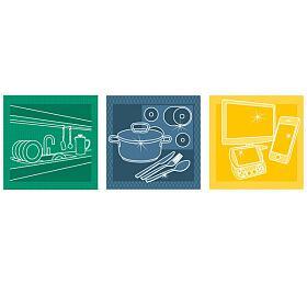 Utěrky do domácnosti Tescoma CLEAN KIT, souprava 3 ks - Tescoma