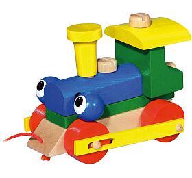 Mrkací mašinka/vlak dřevo tahací v krabičce 14,5x11x9cm - Detoa