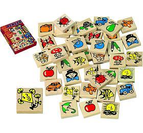 Pexeso dřevo společenská hra 40ks v krabici 17x25x2cm - Detoa
