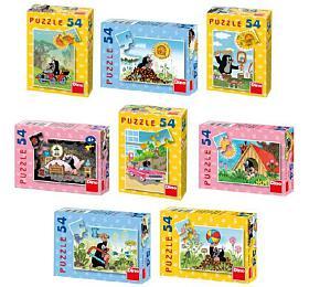 Minipuzzle Krtek 19,8x13,2cm 8 druhů 54 dílků v krabičce 9x7x3cm 40ks v boxu - Dino hračky