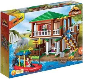 Stavebnice BanBao Safari lodge s ohradami 456ks + 5 figurek v krabici - Mikro Trading