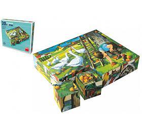 Kostky kubus Zvířátka Statek dřevo 20ks v krabičce 20x16x4cm - TOPA