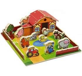 Domeček dřevěná farma Moje první zvířátka 31x31cm 28ks+podložka v krabici MPZ - Teddies