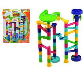 Kuličková dráha plast 55ks v krabici 24x37x7cm - Teddies