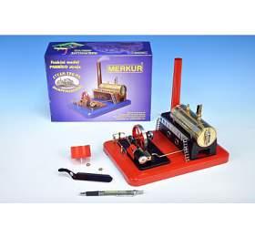 Stavebnice MERKUR funkční model parního stroje Standart v krabici 28x11x20cm - Merkur Toys