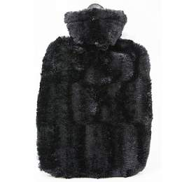 Termofor Hugo Frosch Classic s obalem z umělé kožešiny – černý s podšívkou - HUGO-FROSCH