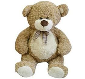 Medvěd s mašlí velký plyš 80cm béžový kudrnatý 0+ - Teddies