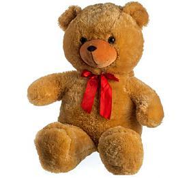 Medvěd plyš 100cm s mašlí světle hnědý hladký 0+ - Teddies