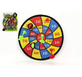 Terč na suchý zip 29cm 4 šipky 2ks míčky na kartě - Teddies