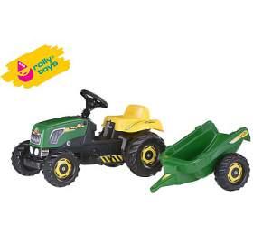 Šlapací traktor Rolly Kid s vlečkou - zelený ROLLYTOYS - ROLLYTOYS