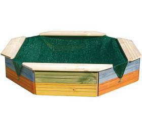 Dřevěné 8mi hranné pískoviště WOODY, barevné - WOODY