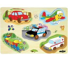 Woody puzzle muzikální dopravní prostředky zvukové set 5 dílků - WOODY
