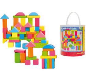 Stavebnice kostky barevné - pastelové, 75 dílů WOODY - WOODY