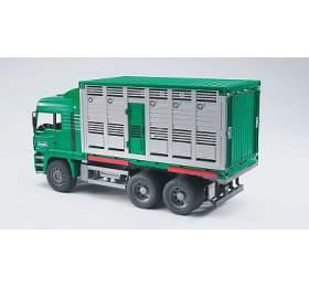 Užitkové vozy - MAN TGA auto na přepravu dobytka + 1 kráva 1:16 - ARCH. BRUDER - Bruder