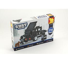 Stavebnice Dromader SWAT Policie Auto 216ks v krabici 32x21x5cm - Teddies