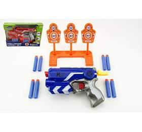 Pistole na pěnové náboje+terč 3ks plast 19cm asst 3 barvy v krabici - Teddies