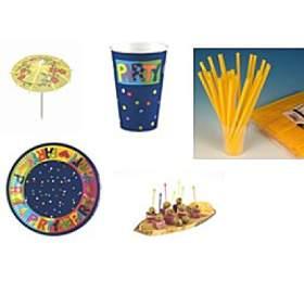 PÁRTY SET PAPSTAR - párty kelímky + párty talíře + párty zapychovátka + párty deštníčky + párty brčka - Ostatní