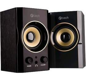 repro C-TECH SPK-11, 2.0, dřevěné, černo-zlaté, USB - C-Tech