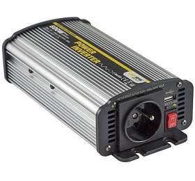 Síťový měnič napětí z 12V DC na 230V AC 600W + USB 2100mA - -