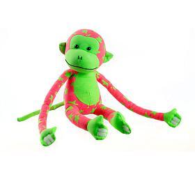 Opice svítící ve tmě plyš 45x14cm růžová/zelená v krabici - Teddies