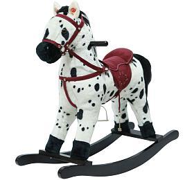 Kůň houpací bíločerný plyš na baterie 71cm se zvukem a pohybem nosnost 50kg v krabici 62x56x19cm - Teddies