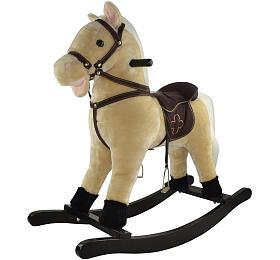 Kůň houpací béžový plyš výška 71cm nosnost 50kg v krabici - Teddies