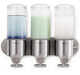 Dávkovač mýdla, šampónu a kondicionéru Simplehuman na zeď, nerez - 3x 444ml - Simplehuman