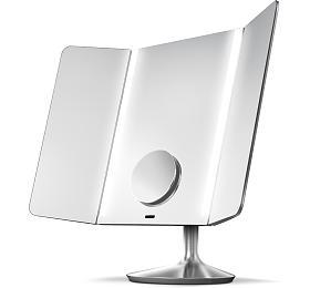 Kosmetické zrcátko Simplehuman - Wide View 1x /10x detail, dobíjecí, WiFI, nerez ocel - Simplehuman
