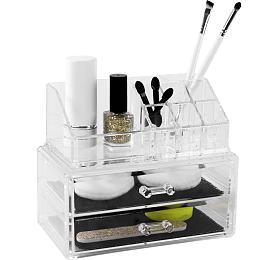 Organizér na kosmetiku Compactor – 2 zásuvky, horní úložný díl, čirý plast - Compactor