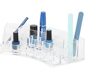 Zaoblený organizér na kosmetiku Compactor – 18 přihrádek, čirý plast - Compactor