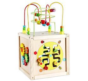 Edukační kostka MAXI dřevo 30x30cm labyrint v krabici 33x30x30cm - Teddies