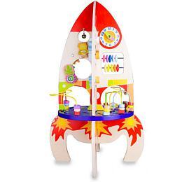 Hrací stůl dřevo edukační raketa v krabici 32x45x20cm - Teddies