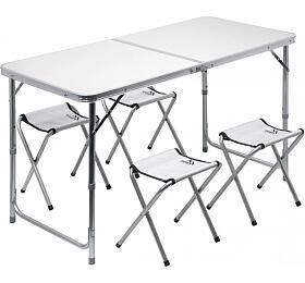 Stůl kemping DOUBLE teleskop. šedý + 4x židlička CATTARA - CATTARA