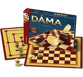 Společenská hra Bonaparte Dáma + mlýn dřevěné kameny v krabici 33x23x4 cm - Bonaparte