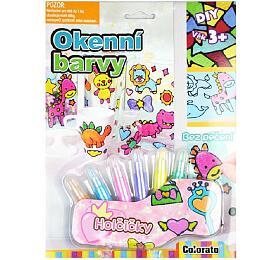 Okenní barvy třpytivé pro holčičky 6ks + předlohy na kartě 21x28x2cm - SMT Creatoys