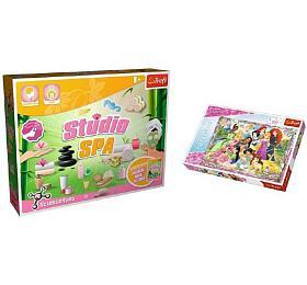 PACK Science for you Studio SPA 21 pokusů + Puzzle Disney Princezny 260 dílků v krabici 40x26x13cm - TREFL