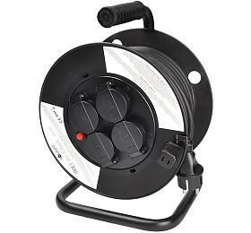 Solight prodlužovací přívod na bubnu, 4 zásuvky, venkovní, 25m gumový kabel, 3x 1,5mm2, IP44 - Solight