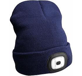 Čepice s čelovkou 180lm, nabíjecí, USB, univerzální velikost, modrá SIXTOL - Sixtol