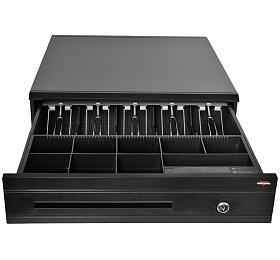 Pokladní zásuvka C425C - s kabelem, kovové držáky, 9-24V, černá (EKN0112) - VIRTUOS