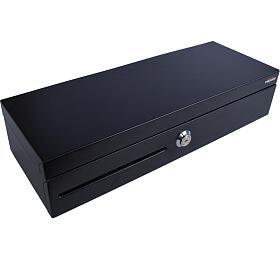 Virtuos pokladní zásuvka FT-460C1; Flip top, bez víka, 9-24V, černá - s kabelem (EKN0008) - VIRTUOS