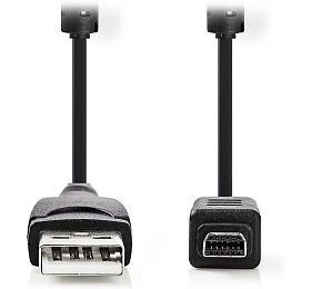 NEDIS datový kabel pro fotoaparát OLYMPUS/ USB 2.0 A zástrčka - 12-pinová zástrčka/ černý/ 2m (CCGP60802BK20) - NEDIS