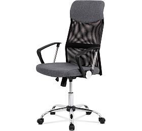 Kancelářská židle řady BASIC, potah šedá látka a černá síťovina MESH, houpací mechanismus, kovový chromovaný kříž Autronic KA-E301 GREY - Autronic