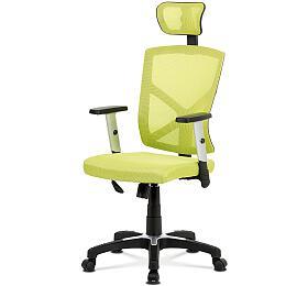 Kancelářská židle, potah zelená látka MESH a síťovina, MESH, černý plastový kříž, houpací mechanismus, stavitelné opěrky Autronic KA-H104 GRN - Autronic